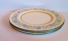 Wedgwood Shah Cream Dinner Plate Lot of 3 HP Enamel Blue Lavender Flower VTG EUC