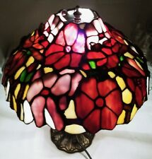 "Vintage 16"" Tall Tiffany Style Lamp w/ 13"" Stained Glass Floral Display Shade"