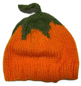 Baby Infant Pumpkin Knit Beanie Halloween Hat Costume  0-6 Months Orange Crochet