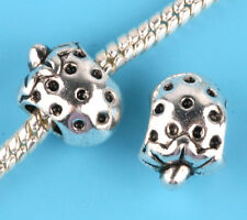 2pcs silver Strawberry Charm Spacer beads fit European Bracelet Chain A#27