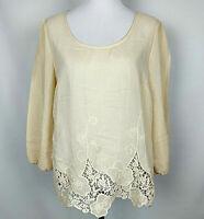 A DIVA Women's Floral Lace Trim Boho Chic Hippie Blouse Tunic Top Size L Peach