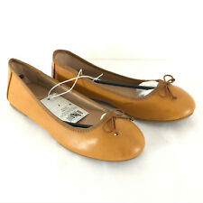 Cat & Jack Girls' Stacy Ballet Flat Brown Bow Faux Leather Size 4