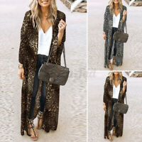 ZANZEA 8-24 Women Leopard Cardigan Kimono Long Coat Jacket Cardi Beach Cover Up