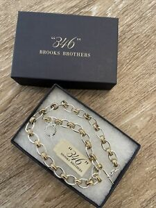 """NWT BROOKS BROTHERS 346 Two-Tone Gold Silver Chain Toggle Closure 16"""" Necklace"""