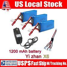 3x1200mAh 7.4V Battery Set+Charger+3ports Cable For JJRC H16 YiZhan Tarantula X6