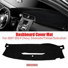 Black Dashboard Pad Dash Cover Mat For 2007-2014 Chevy Silverado/Tahoe/Suburban