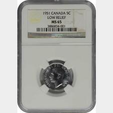 1951 Canada 5 Cents Low Relief NGC MS 65