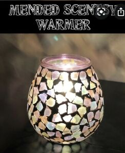 Scentsy MENDED Wax Warmer w/ Warm Tones Glass Mosaic ~ NEW