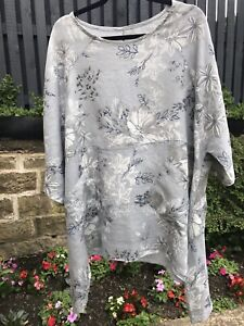 PLUS PLUS SIZE LINEN TOP MADE IN ITALY GREY WHITE BLUE 24 26 28