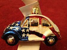 CHRISTOPHER RADKO Volkswagen VW  Red White Blue Flag Christmas Tree Ornament