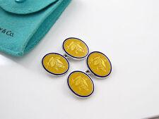 Tiffany Silver RARE Yellow Blue Enamel Frog Cuff Link Links Cufflink Cufflinks