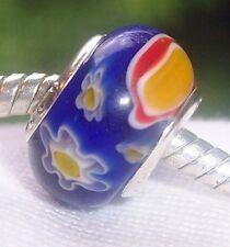 Blue Red Yellow Flowers Millefiori Glass Murano Bead for European Charm Bracelet