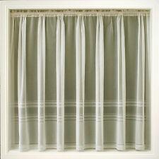 Cream Ivory Net Curtain Plain Stripe Hudson ALL SIZES