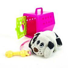 "Vintage Hasbro Pound Puppies 2.5"" Plush Mini w/ Dog Bone & Carrier Crate Galoob"