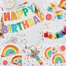 Rainbow Party Birthday Supplies Paper Plates Cups Napkins Tassel Garland
