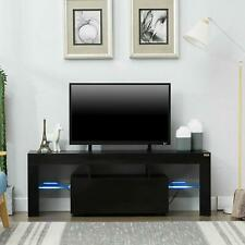 Modern Black TV Stand Unit Cabinet w/ LED Light 2 Drawers Console Table RC