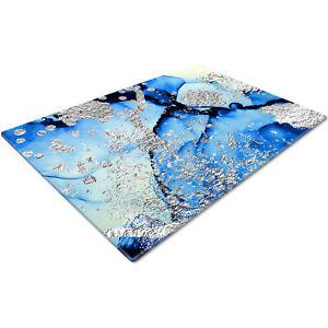 Glass Chopping Cutting Cutting Board Work Top Saver Large Blue Black Silver