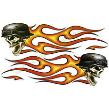 Lethal Threat Motorcycle Flaming Skull Skeleton Bones Helmet Spirit Decal Tribal