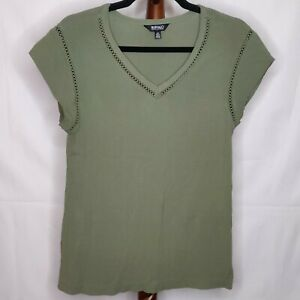 Buffalo by David Britton womens S top green v-neck cap sleeve lace trim textured
