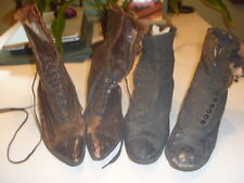 2 Pair Antique Victorian Edwardian tie up leather and button cloth boots