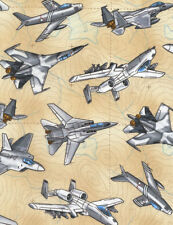 Timeless Treasures Fighter Planes Tan 100% cotton fabric by the yard