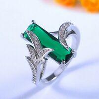 Geometrie Edelstein Smaragd Ringe Frauen Silber Fein Schmuck Geschenk Größe 6-10