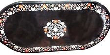 Marble Black Dining Table Top Marquetry Floral Inlay Art Mosaic Work Decor H2428