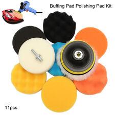 11pcs 4inch 100mm Flat Sponge Buff Buffing Pad Kit Car Polishing Set ,US STOCK