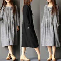 UK Womens Retro Round Neck Long Sleeve Baggy Kaftan Tunic Shirt Dress Pullover