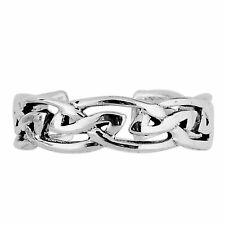Knot Cuff Style Adjustable Toe Ring 925 Sterling Silver Rhodium Plated Trinity
