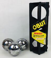 OBUT Vintage set balls petanque jeu de boules acier chrome 🇫🇷 Pardi Design 80s