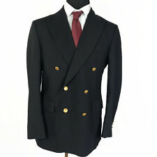 Aquascutum Mens Blazer 38R Navy Blue Double Breasted Gold Buttons Wool England