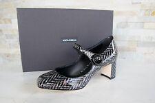 orig Dolce & Gabbana D&G Gr 38 Pumps Schuhe schwarz Strickmuster  NEU UVP 595 €