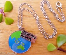 SAVE the PLANET Mother Earth Hippie Enviroment Nature World Pendant Necklace