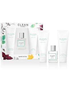 Clean Classic Warm Cotton Eau De Parfum Body Lotion Shower Gel 3-pc Gift Set