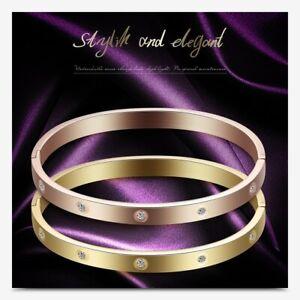 Womens Rose Gold CZ Crystal Love Forever Stainless Steel Bangle Luxury Bracelet