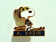 Snoopy Skiing Pin  Vintage  A Basin Ski Resort Peanuts Snoopy Lapel pin