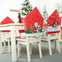6Pcs Christmas Ornaments Chair Cover Dinner Dining Table Santa Claus Snowfl A7T7
