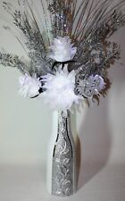 Artificial Silk Arrangement White Silver Flowers With Lights  Glitter Vase 75cm
