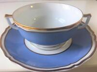 Raynaud Limoges Polka Gold Cream Soup Cup Bowl & Saucer Gold Trim 10.75 Oz 2 Pc
