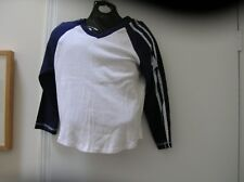 Jordache babydoll baseball jersey tshirt white navy stars stripes M L vntg?
