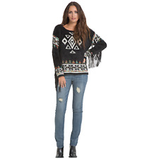 Elan Womens Aztec Fringe Sweater Black M #NKUS4-1083