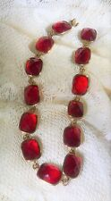Necklace Choker Collar Red Cabochon Gold Tone Settings Tab Closure Lot R