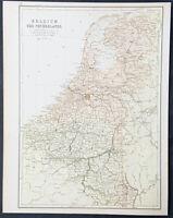 1880 John Bartholomew Large Antique Map of The Netherlands, Belgium