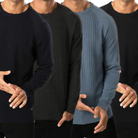 Threadbare Mens Vienna Knitted Jumper Crew Neck Top Waffle Knit Pullover Sweater