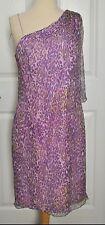 FLORES & FLORES Purple DESIGN ONE SHOULDER SILK CHIFFON DRESS Brand New SIZE 8