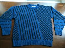 Vintage Le Tigre Blue Black Patterned Acrylic Crewneck Sweater Size Xxl made Usa