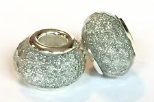 Silver Grey Glitter Spacer Charm Bead For European Bracelets Silver Core 1pc