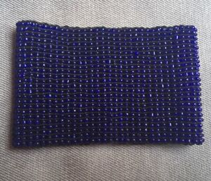 STRETCHY SAPPHIRE BLUE PLASTIC BEADS BRACELET WIDE INTRICATE *NEW*