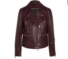 $1295 NWT Rag & Bone Women's Burgundy Port Arrow Biker Leather Jacket Size 4